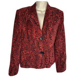 Gilani Blazer 10 Red Black Paisley 2 button Lined